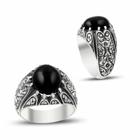 Tesbihane - Erzurum El İşi Oniks Taşlı 925 Ayar Gümüş Yüzük
