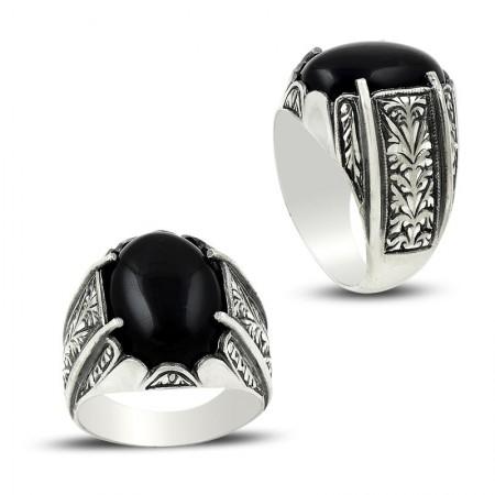 Tesbihane - Erzurum El İşi Oniks Taşlı Gümüş Yüzük