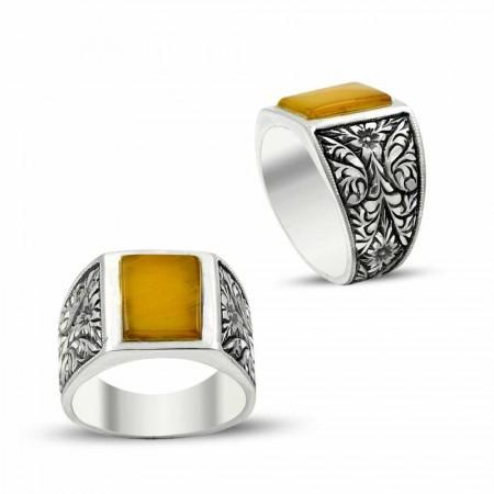 Tesbihane - Erzurum El İşi Sarı Sıkma Kehribarlı Gümüş Yüzük