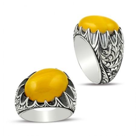 - Erzurum El İşi Sarı Sıkma Kehribarlı Gümüş Yüzük