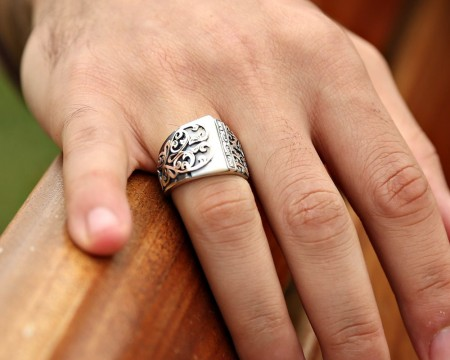 Tesbihane - Erzurum El İşi Sedef Taşlı 925 Ayar Gümüş Yüzük (model 2)