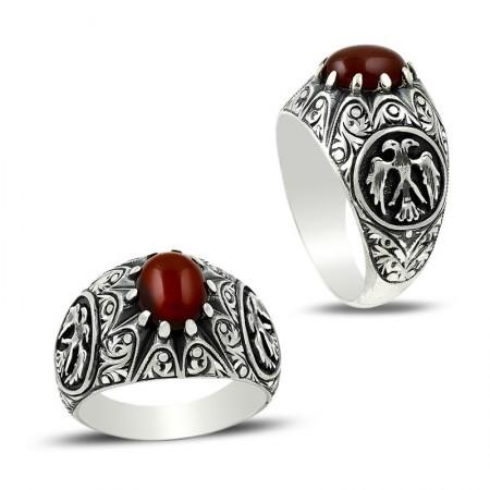 Tesbihane - Erzurum El İşi Selçuklu Kartalı Akik Taşlı Gümüş Yüzük