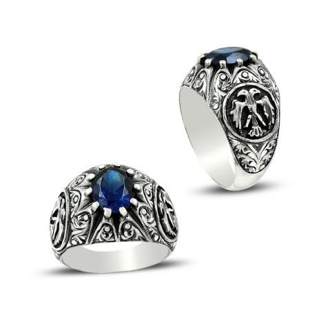 - Erzurum El İşi Selçuklu Kartalı Mavi Zirkon Taşlı Gümüş Yüzük