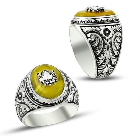 Tesbihane - Erzurum El İşi Sıkma Kehribarlı 925 Ayar Gümüş Yüzük