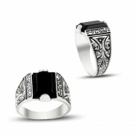 Tesbihane - Erzurum El İşi Siyah Mineli Gümüş Yüzük