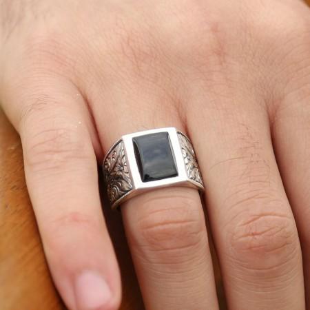 Tesbihane - Erzurum El İşi Siyah Mineli Gümüş Yüzük (M-2)
