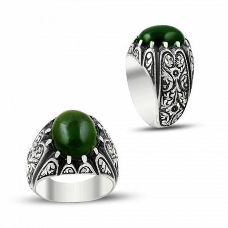 Tesbihane - Erzurum El İşi Yeşil Ateş Kehribarlı Gümüş Yüzük