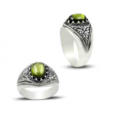 Tesbihane - Erzurum El İşi Yeşil Zirkon Taşlı 925 Ayar Gümüş Yüzük