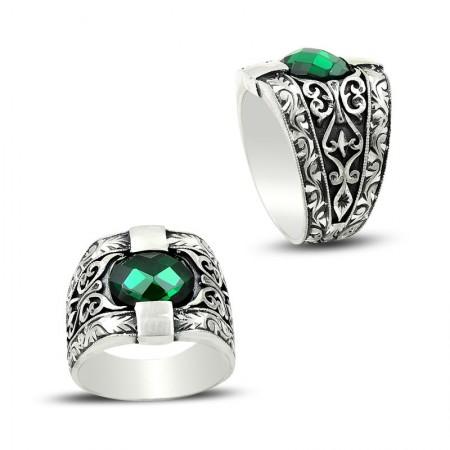 - Erzurum El İşi Yeşil Zirkon Taşlı Gümüş Yüzük