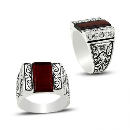 - Erzurum El İşi Zirkon Taşlı Gümüş Yüzük