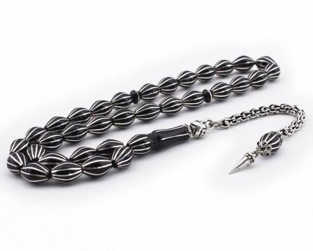 Tesbihane - 925 Ayar Gümüş Püsküllü Gümüş 12'li Karpuz Yarma Erzurum Oltu Taşı Tesbih