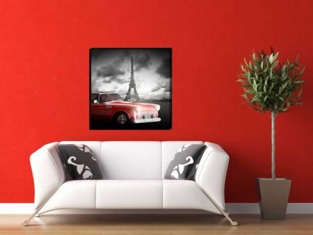 - Eyfel Kulesi-Araba Manzaralı Kanvas Tablo