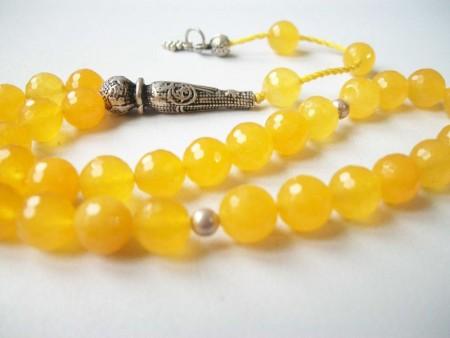- Fasetalı Gümüşlü Sarı Renk Akik Tesbih (ABGQSJY6)