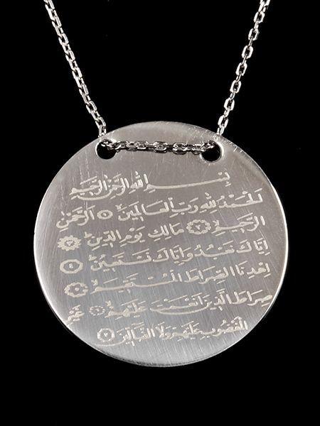 Fatiha Suresi Yazılı Gümüş Kolye