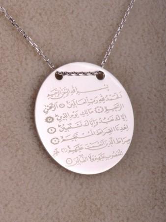 Fatiha Suresi Yazılı Gümüş Kolye - Thumbnail