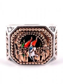 Fatih'in İstanbul'a Girişi Motifli 925 Ayar Gümüş Erkek Yüzük - Thumbnail