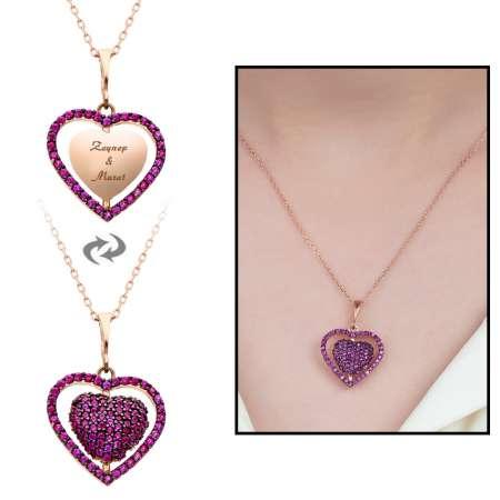 Tesbihane - Fuşya Zirkon Taşlı Kişiye Özel İsim Yazılı Rose Renk 925 Ayar Gümüş Kalp Kolye