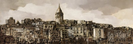 Tesbihane - Galata Kulesi Temalı Kanvas Tablo