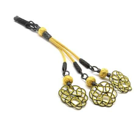 Tesbihane - Gri-Sarı Renk 1000 Ayar Gümüş 3'lü Kazaz Püskül