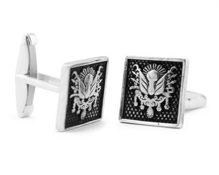 Tesbihane - Gümüş Arma Desen Kare Kol Düğmesi