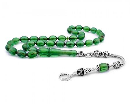 Tesbihane - Gümüş Ayyıldız Püsküllü Yeşil Sıkma Kehribar Tesbih