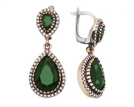 Yeşil Zirkon Taşlı Çift Damla Tasarım 925 Ayar Gümüş Otantik Küpe - Thumbnail