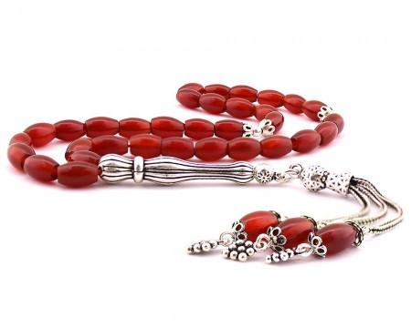 - 925 Ayar Gümüş Püsküllü Arpa Kesim Kırmızı Akik Doğaltaş Tesbih