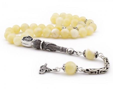 Tesbihane - 925 Ayar Gümüş Tuğra Püsküllü Arpa Kesim Sarı Kalsit Doğaltaş Tesbih