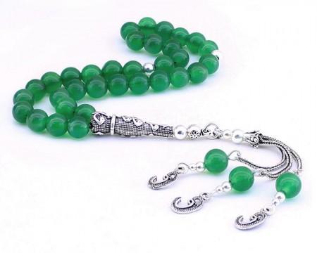 Tesbihane - 925 Ayar Gümüş Vav Püsküllü Küre Kesim Yeşil Akik Doğaltaş Tesbih