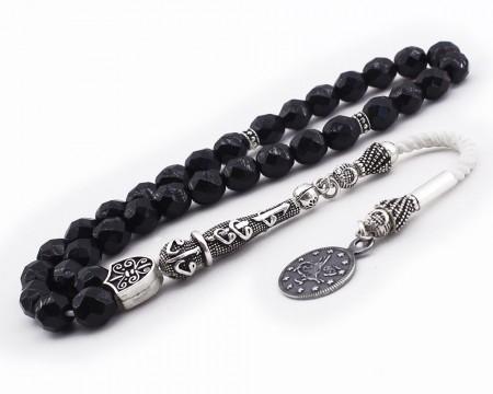 Tesbihane - 925 Ayar Gümüş Tuğra Püsküllü Fasetalı Küre Kesim Siyah Oniks Tesbih