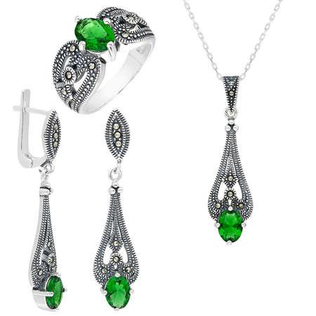 Tesbihane - Yeşil Green Glass Taşlı 925 Ayar Gümüş 3'lü Takı Seti
