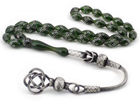 Tesbihane - Gümüş İşlemeli Arpa Kesim Yeşil Sıkma Kehribar Tesbih (DEKAQ249)