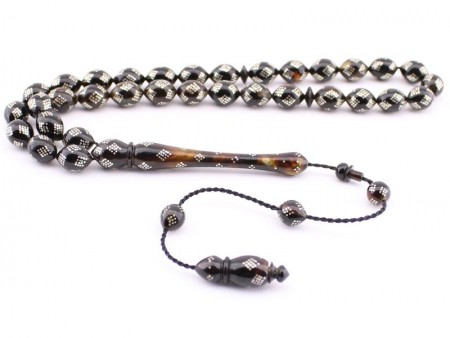 - Gümüş İşlemeli Bağa (Kaplumbağa Kabuğu) Tesbih Model 2
