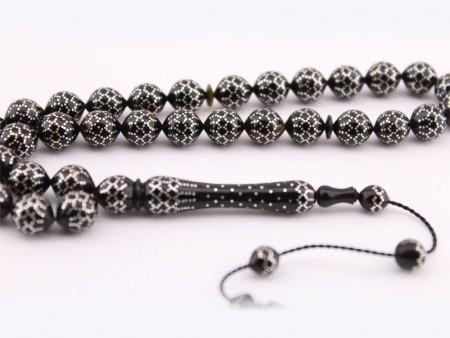 - Gümüş İşlemeli Bağa (Kaplumbağa Kabuğu) Tesbih Model 4