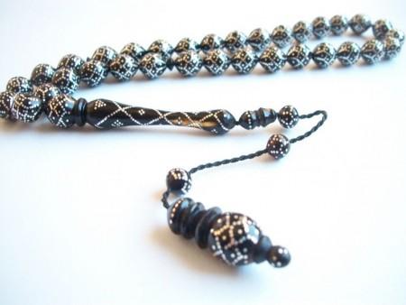 Gümüş İşlemeli Bağa (Kaplumbağa Kabuğu) Tesbih - Thumbnail