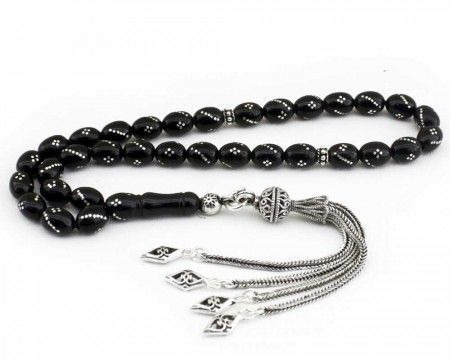 - 925 Ayar Gümüş Püsküllü Gümüş İşlemeli Arpa Kesim Erzurum Oltu Taşı Tesbih