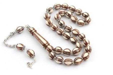 Tesbihane - Gümüş İşlemeli Özel Yapım Fildişi Üzerine Gül Ağacı Tesbih