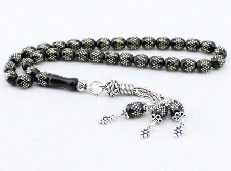 Gümüş İşlemeli Özel Yapım Oltu Tesbih (ÖZEL MODEL 3) - Thumbnail