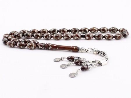 Tesbihane - Gümüş İşlemeli ve Özel Gümüş Püsküllü Kuka Tesbih