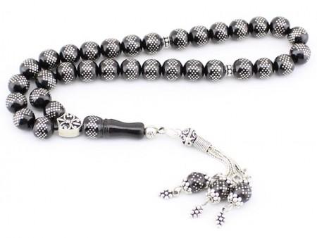Gümüş İşlemeli ve Püsküllü Oltu Tesbih Model 1 - Thumbnail