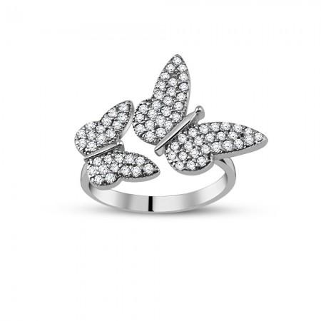 - Gümüş Kelebek Tasarım Yüzük
