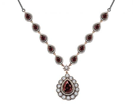 Tesbihane - 925 Ayar Gümüş Kırmızı Zirkon Taşlı Otantik Bayan Kolye