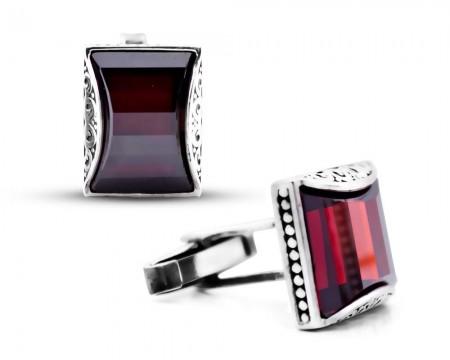 Tesbihane - Gümüş Kırmızı Zirkon Taşlı Kol Düğmesi