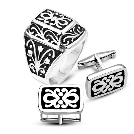 Gümüş Kurtlar Vadisi Yüzüğü ve Desenli Gümüş Kol Düğmesi Kombini - Thumbnail