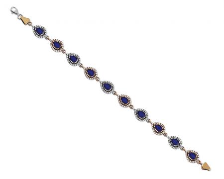Tesbihane - Zirkon ve Lacivert Ruby Taşlı Damla Tasarım 925 Ayar Gümüş Bayan Bileklik