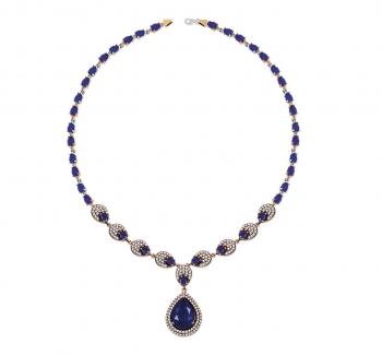 Tesbihane - Mavi Zirkon Taşlı Otantik 925 Ayar Gümüş Bayan Kolye