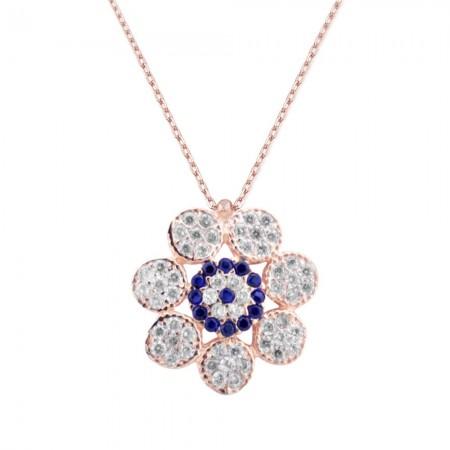 Tesbihane - Gümüş Nazar Boncuklu Çiçek Kolye