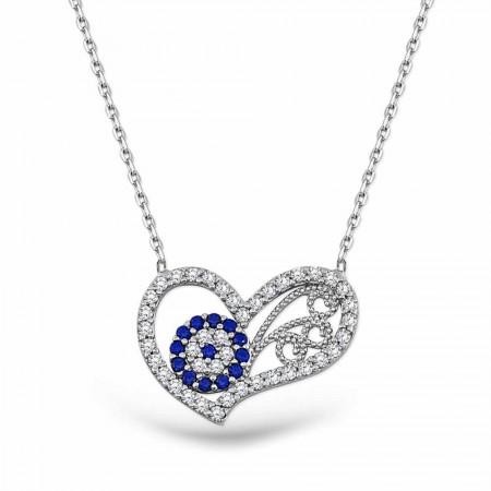 Tesbihane - Gümüş Nazar Boncuklu Kalp Kolye