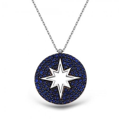 Tesbihane - Gümüş Parlement Rengi Kutup Yıldızı Kolye