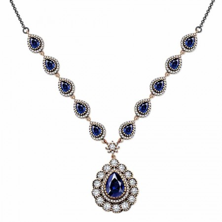 Tesbihane - Parlement Zirkon Taşlı Otantik 925 Ayar Gümüş Bayan Kolye